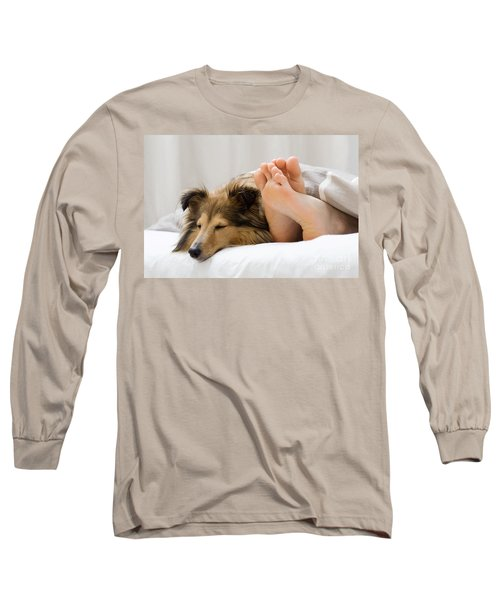 Sheltie Sleeping With Her Owner Long Sleeve T-Shirt