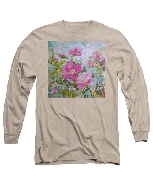 Shrub Roses Long Sleeve T-Shirt by Robin Birrell