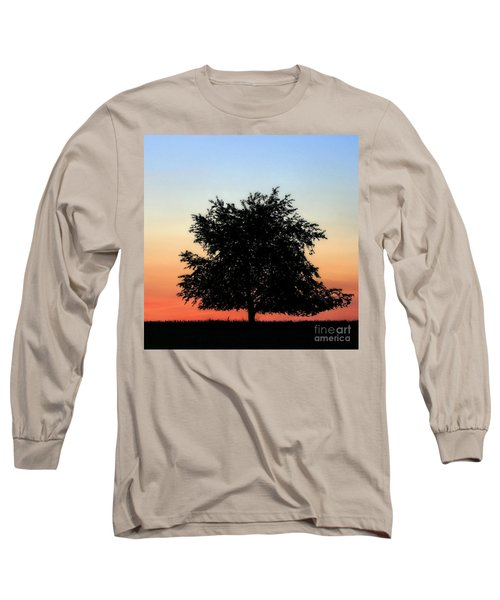 Make People Happy  Square Photograph Of Tree Silhouette Against A Colorful Summer Sky Long Sleeve T-Shirt