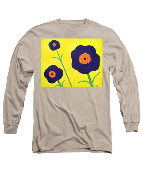 Long Sleeve T-Shirt featuring the painting Sky High Flowers by Alys Caviness-Gober