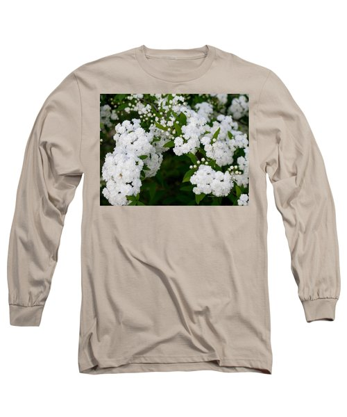 Spirea Blooms Long Sleeve T-Shirt by Maria Urso