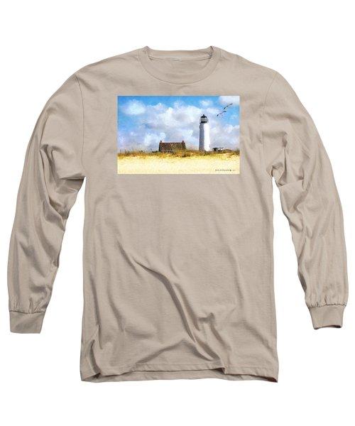 St. George Island Lighthouse Long Sleeve T-Shirt by Rhonda Strickland