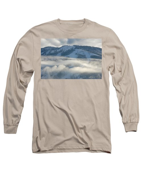 Long Sleeve T-Shirt featuring the photograph Steamboat Ski Area In Clouds by Don Schwartz