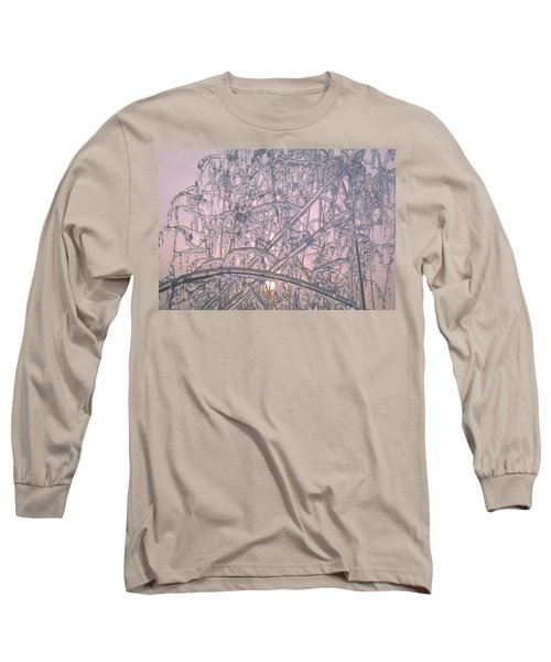 Sunrise Through Ice Covered Shrub Long Sleeve T-Shirt