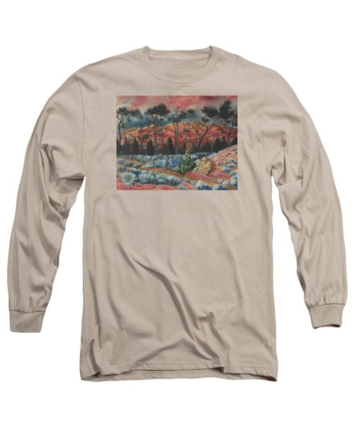 Sunset In The Cheatgrass Long Sleeve T-Shirt by Dawn Senior-Trask