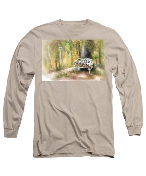 Long Sleeve T-Shirt featuring the painting The Garden Bench by Bonnie Willis