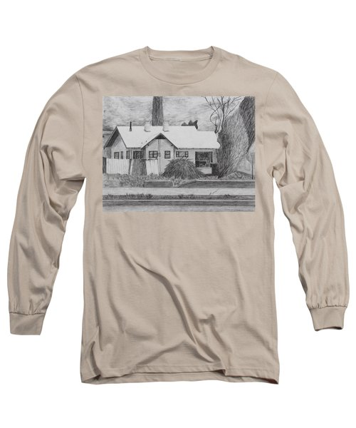 Long Sleeve T-Shirt featuring the drawing The House Across by Kume Bryant