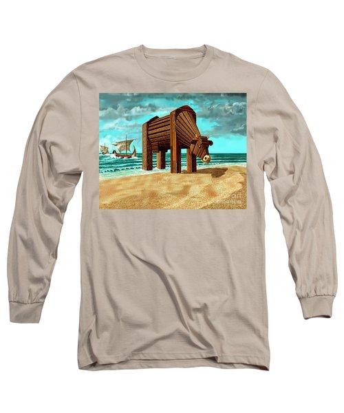 Trojan Cow Long Sleeve T-Shirt by Russell Kightley