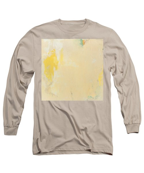 Untitled Abstract - Bisque With Yellow Long Sleeve T-Shirt by Kathleen Grace