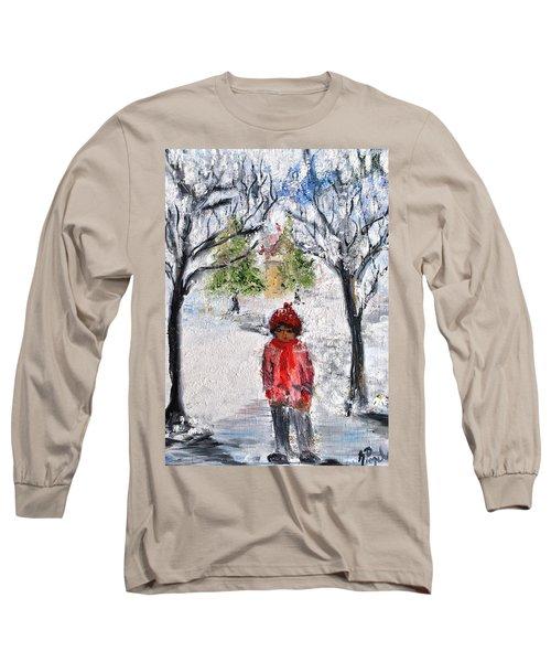 Walking Alone Long Sleeve T-Shirt by Evelina Popilian