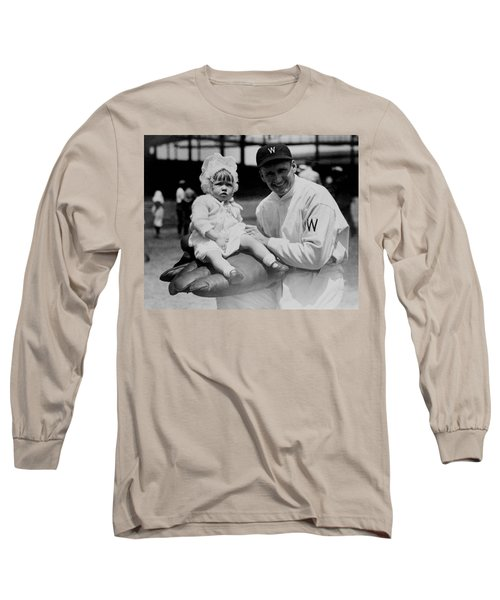 Long Sleeve T-Shirt featuring the photograph Walter Johnson Holding A Baby - C 1924 by International  Images