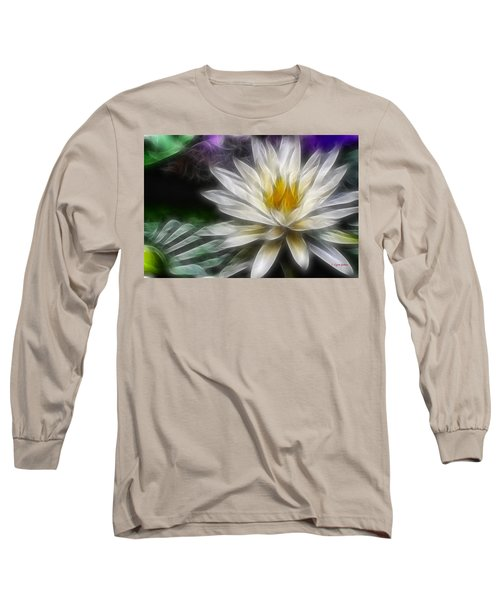 Waterlily In Pseudo-fractal Long Sleeve T-Shirt by Lynne Jenkins