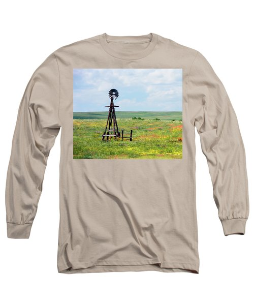 Long Sleeve T-Shirt featuring the photograph Western Kansas Wooden Windmill  by Michael Flood