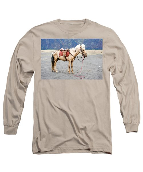 Long Sleeve T-Shirt featuring the photograph White Horse by Yew Kwang