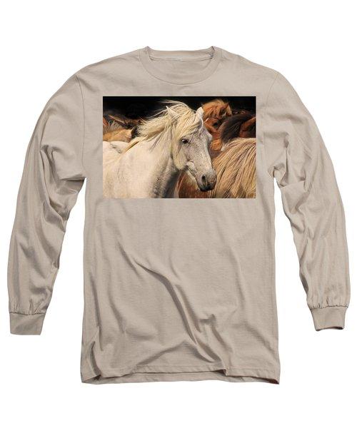 White Icelandic Horse Long Sleeve T-Shirt