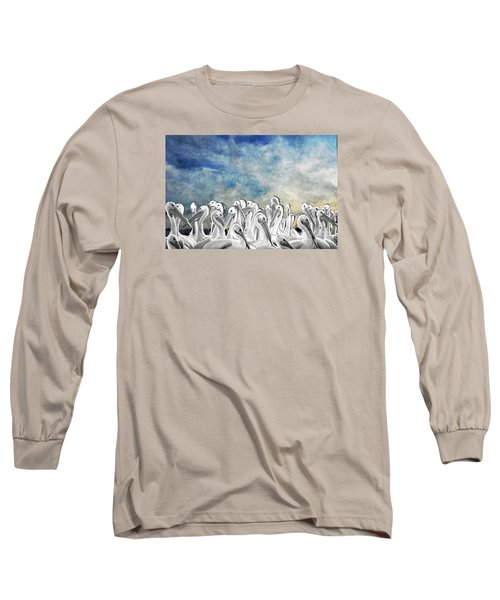 Long Sleeve T-Shirt featuring the photograph White Pelicans In Group by Dan Friend