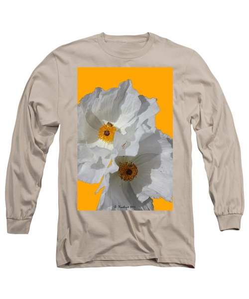 White Poppies On Yellow Long Sleeve T-Shirt
