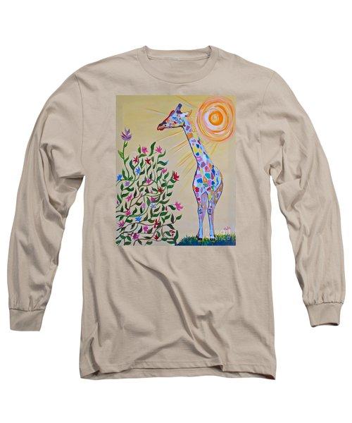 Wild And Crazy Giraffe Long Sleeve T-Shirt by Phyllis Kaltenbach