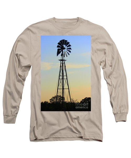 Long Sleeve T-Shirt featuring the photograph Windmill At Dusk by Kathy  White