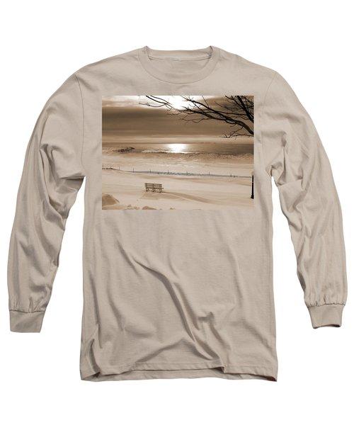 Winter Beach Morning Sepia Long Sleeve T-Shirt