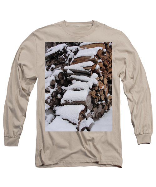 Long Sleeve T-Shirt featuring the photograph Wood Pile by Tiffany Erdman