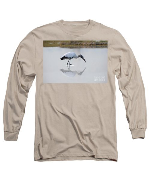 Long Sleeve T-Shirt featuring the photograph Wood Stork Eating by Dan Friend