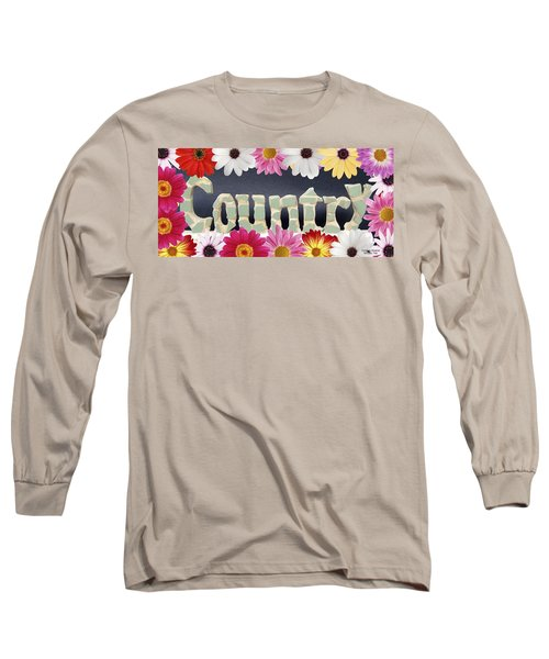 Long Sleeve T-Shirt featuring the mixed media Word Art Country Daisy 2 by Cynthia Amaral