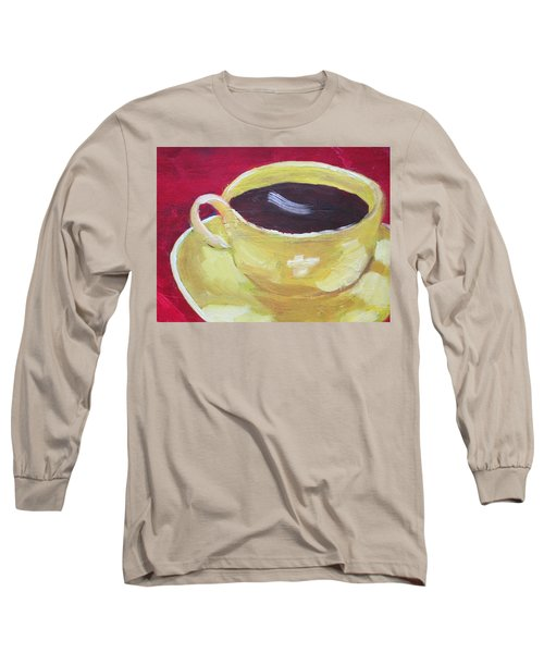 Yellow Cup On Red Long Sleeve T-Shirt by Patricia Cleasby