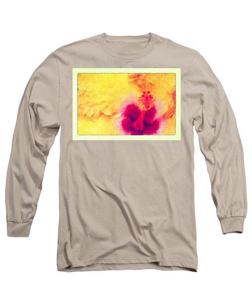 Yellow Hibiscus Flower Long Sleeve T-Shirt