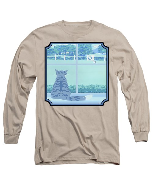 Abstract Cats Staring Stylized Retro Pop Art Nouveau 1980s Green Landscape - Square Format Long Sleeve T-Shirt