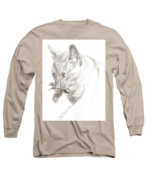 Cat And Chickadee Long Sleeve T-Shirt