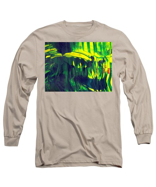 First Date - Green Abstract Mixed Media Painting Long Sleeve T-Shirt