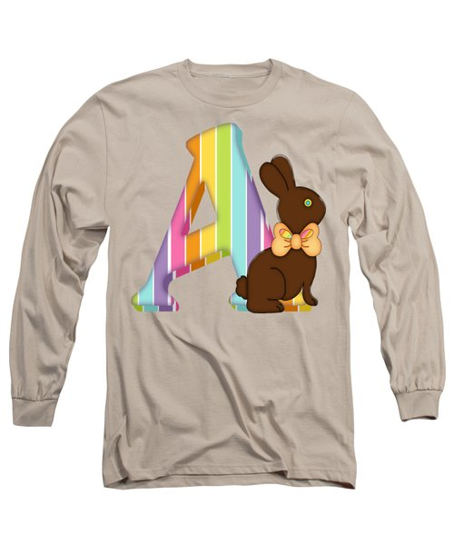 Letter A Chocolate Easter Bunny Long Sleeve T-Shirt
