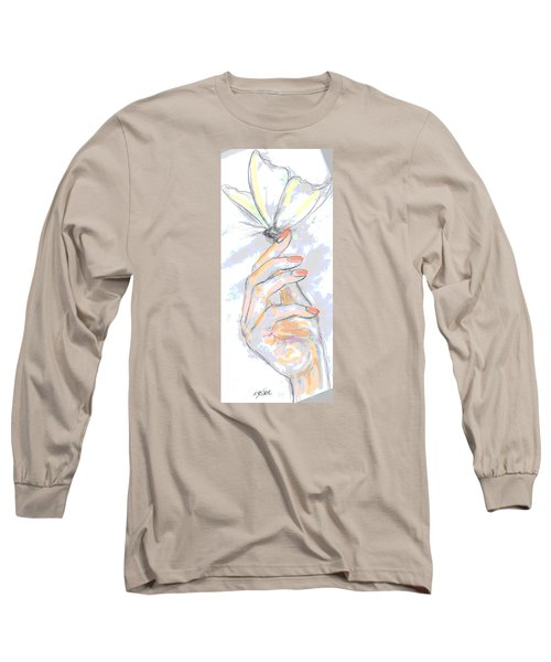 Long Sleeve T-Shirt featuring the drawing  Soft Touch by Desline Vitto