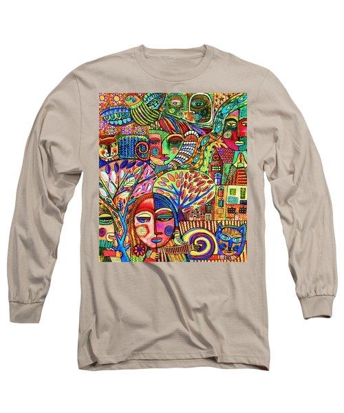 -talavera Harmony Cat Garden Long Sleeve T-Shirt