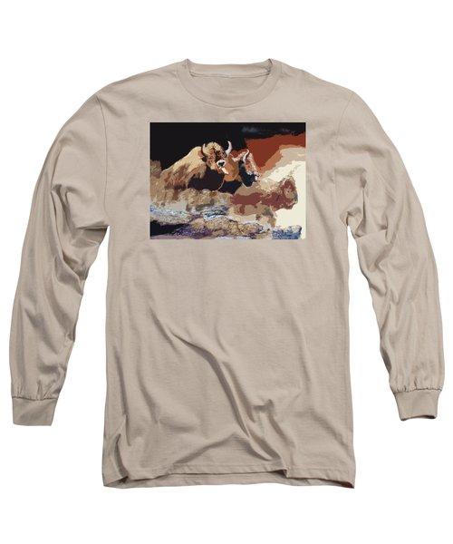 010316 Ancient Buffalo Hunt Long Sleeve T-Shirt by Garland Oldham