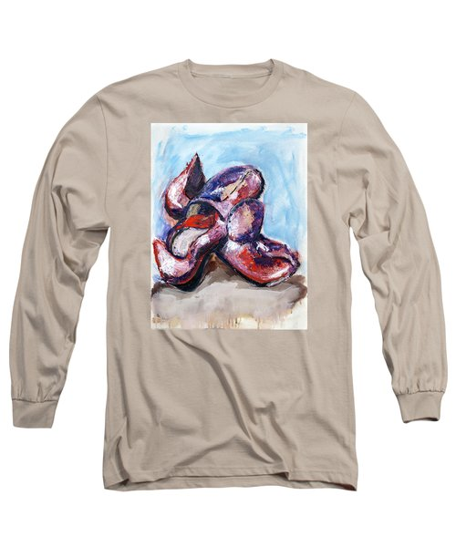 Long Sleeve T-Shirt featuring the painting 01324 Red Shoes by AnneKarin Glass