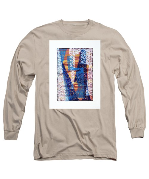 Long Sleeve T-Shirt featuring the painting 01325 Blue Too by AnneKarin Glass