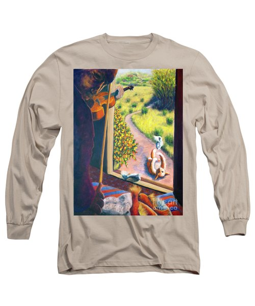 Long Sleeve T-Shirt featuring the painting 01349 The Cat And The Fiddle by AnneKarin Glass