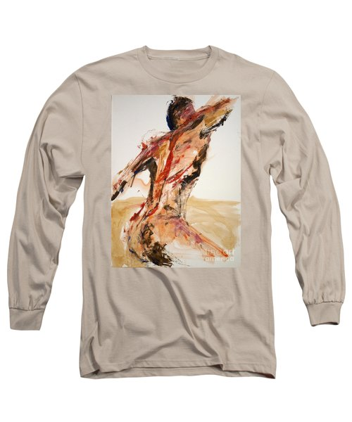 Long Sleeve T-Shirt featuring the painting 04861 Letting Go by AnneKarin Glass
