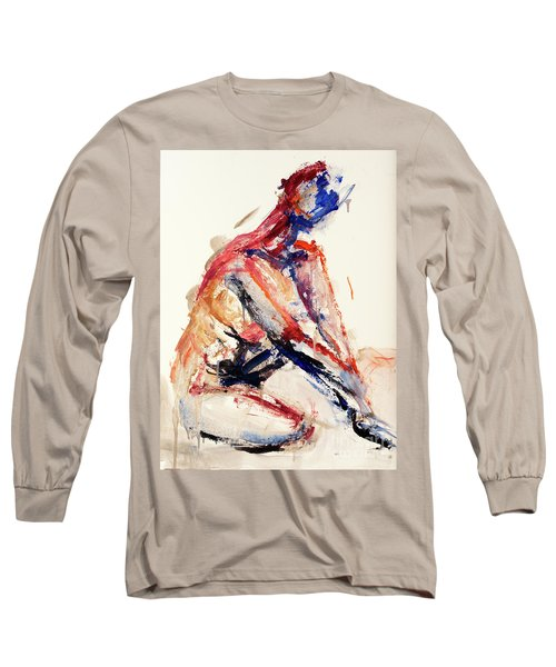 Long Sleeve T-Shirt featuring the painting 04996 Sunburn by AnneKarin Glass