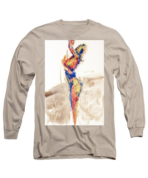 Long Sleeve T-Shirt featuring the painting 04997 Bird Call by AnneKarin Glass