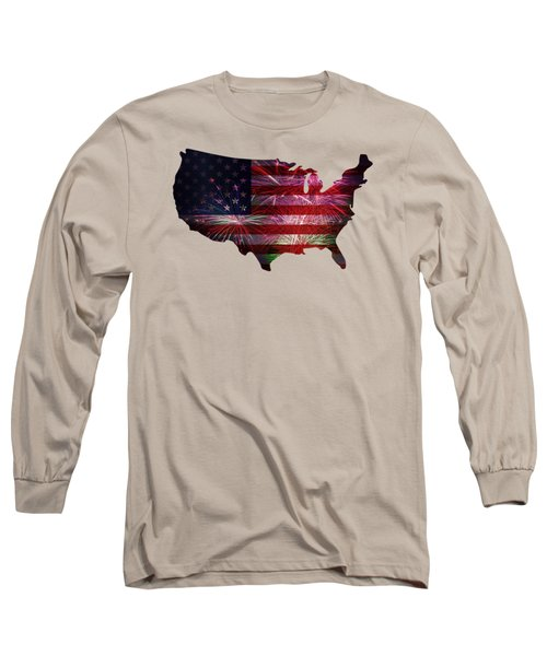 American Flag With Fireworks Display Long Sleeve T-Shirt