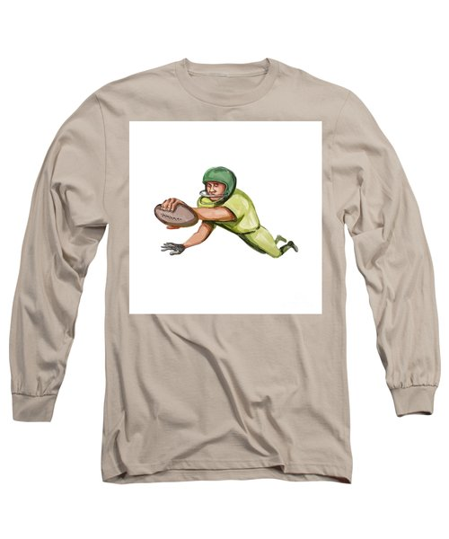 American Football Player Touchdown Caricature Long Sleeve T-Shirt