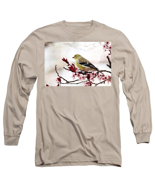 American Goldfinch In Spring Long Sleeve T-Shirt by Trina Ansel