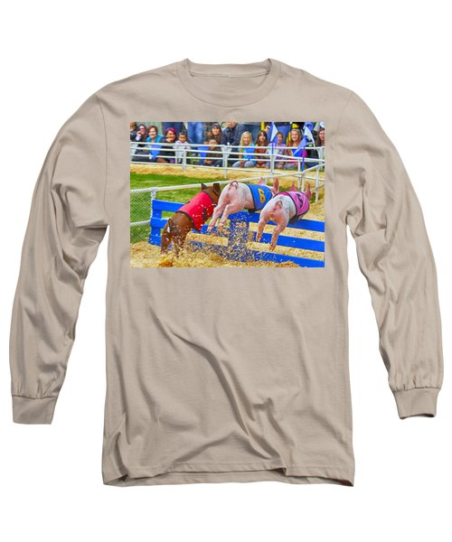 Long Sleeve T-Shirt featuring the photograph At The Pig Races by AJ Schibig