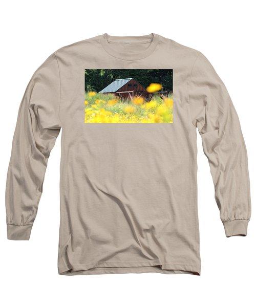 Barn Stony Brook New York Long Sleeve T-Shirt by Bob Savage