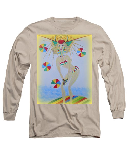 Long Sleeve T-Shirt featuring the painting Beach Ball Surfer by Marie Schwarzer