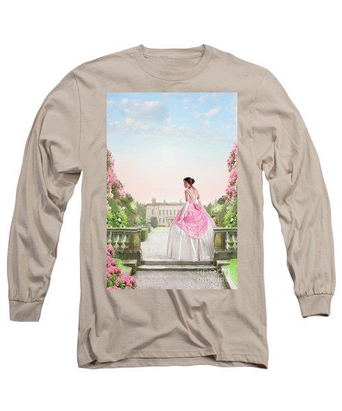 Beautiful Victorian Woman In The Garden Long Sleeve T-Shirt