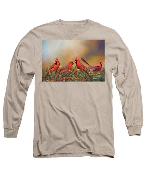 Long Sleeve T-Shirt featuring the photograph Cardinal Quartet by Bonnie Barry